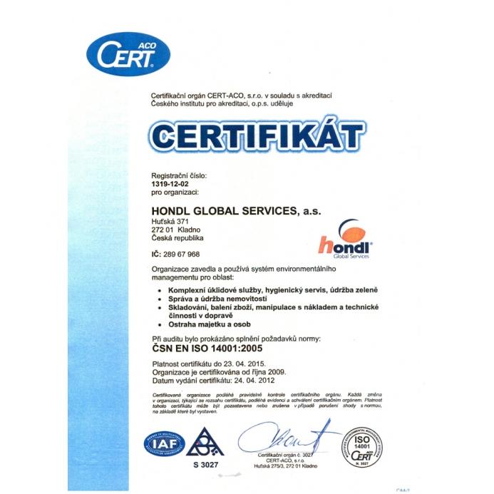 Certifikát ČSN EN ISO 14001:2005