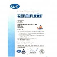 Certifikát ČSN EN ISO 9001:2009