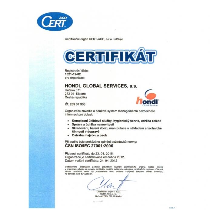 Certifikát ČSN ISO/IEC 27001:2006